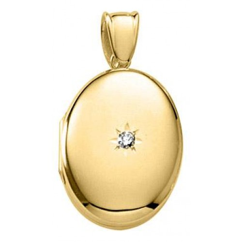 14k Yellow Gold 5/8th Gold Oval Locket - Mary Beth
