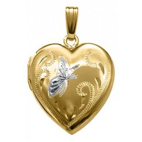 Gold Filled w/ Two Tone Butterfly Heart Locket