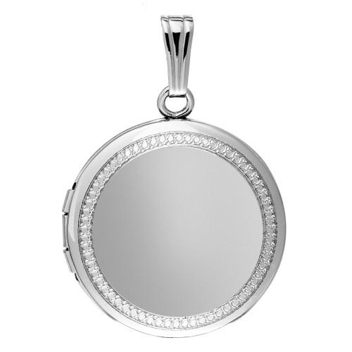 Sterling Silver w/ Diamond Design Round Locket