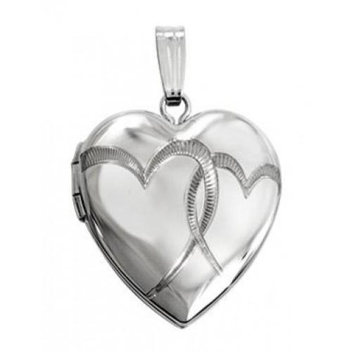 "Sterling Silver ""Interlocking Hearts"" Heart Locket"