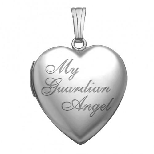 """Sterling Silver """" My Guardian Angel """" Heart Photo Locket"""