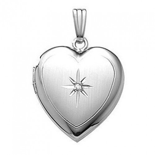 Sterling Silver Heart Locket with Diamond - Janet