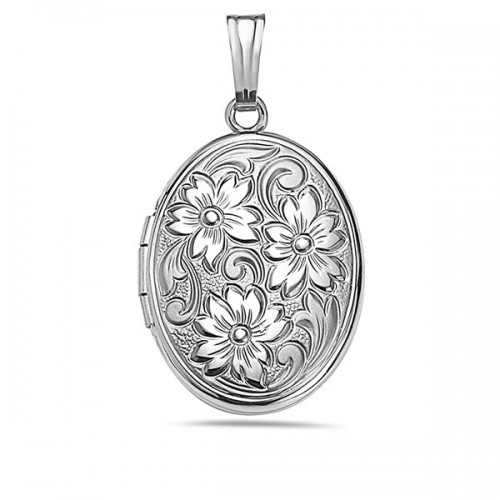 Sterling Silver Floral Oval Photo Locket