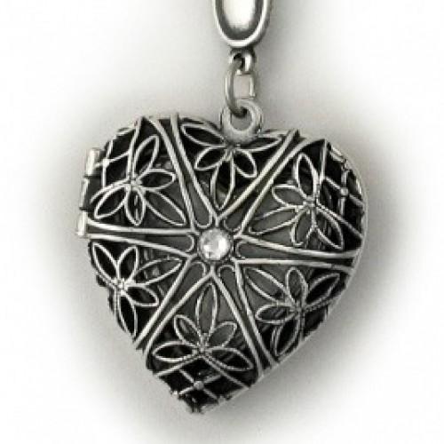 Silver Plated Heart Locket w/ Diamond - Laynee