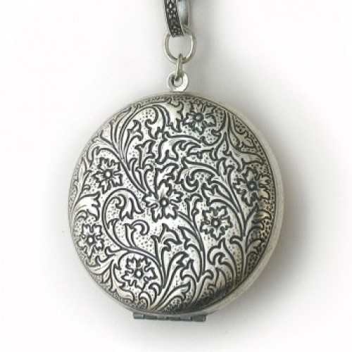 Silver Large Antique Round Locket