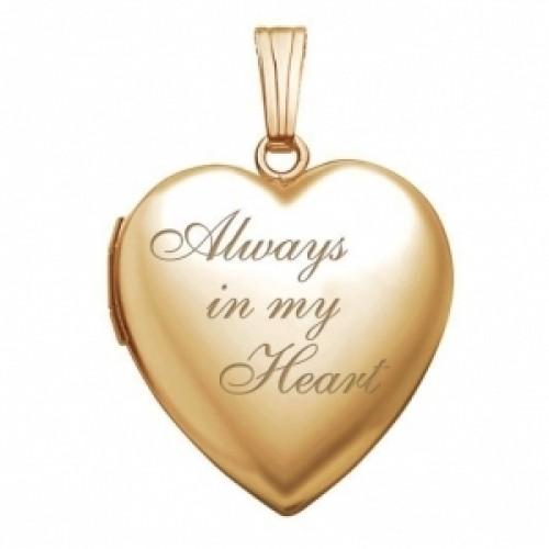 """14k Gold Filled """"Always In My Heart"""" Heart Photo Locket"""