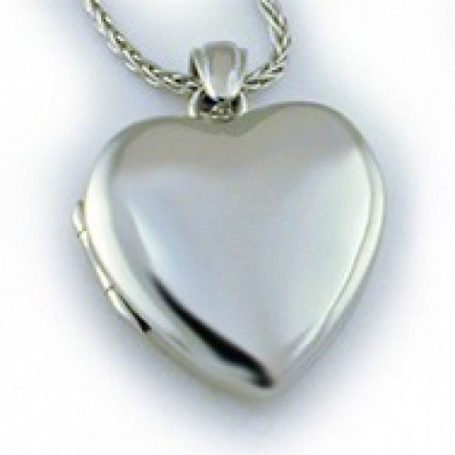 14k White Gold Premium Heart Locket - Kristin
