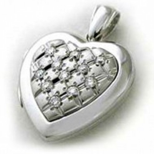 14k White Gold Diamond Quilt Heart Locket - Marie