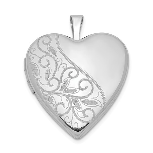 Sterling Silver Floral Heart Photo Locket