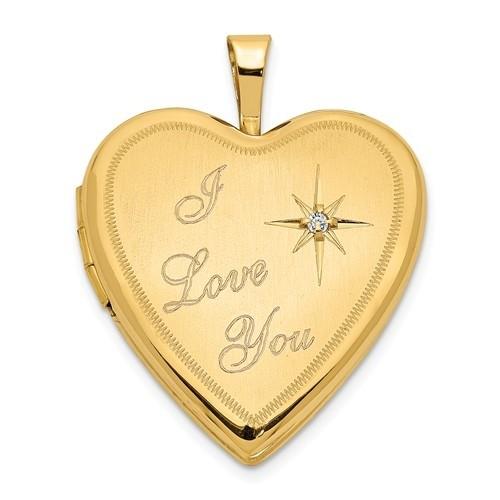 """14K Gold """"I Love You"""" With Diamond Heart Photo Locket"""