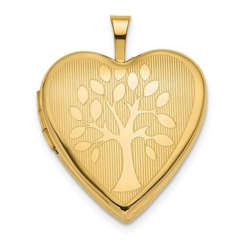 14K Gold Tree Heart Photo Locket